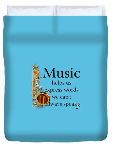 Saxophones Express Words Duvet Cover by M K  Miller
