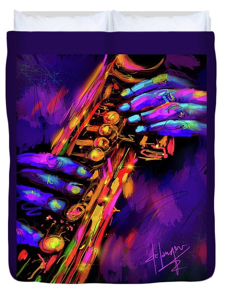 Saxy Hands Duvet Cover by DC Langer