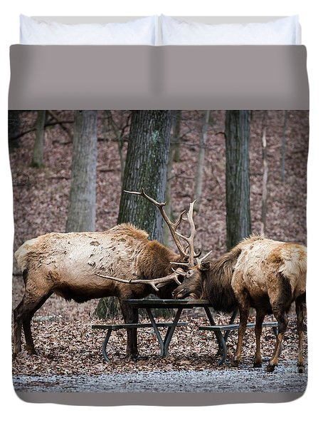 Duvet Cover featuring the photograph Say Uncle by Andrea Silies