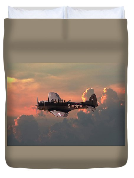 Duvet Cover featuring the digital art  Sbd - Dauntless by Pat Speirs