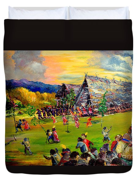 Duvet Cover featuring the painting Sbiah Baah by Jason Sentuf