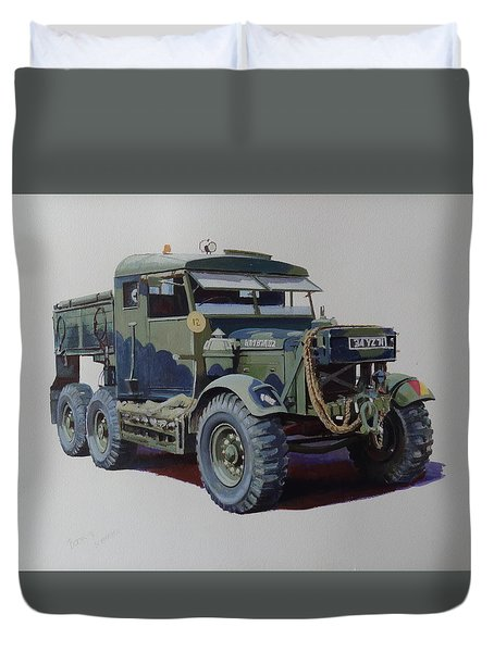 Duvet Cover featuring the painting Scammell Pioneer Wrecker. by Mike  Jeffries