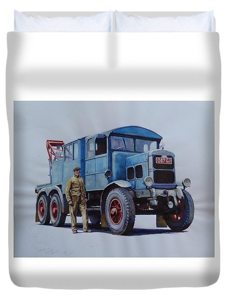Duvet Cover featuring the painting Scammell Wrecker. by Mike Jeffries