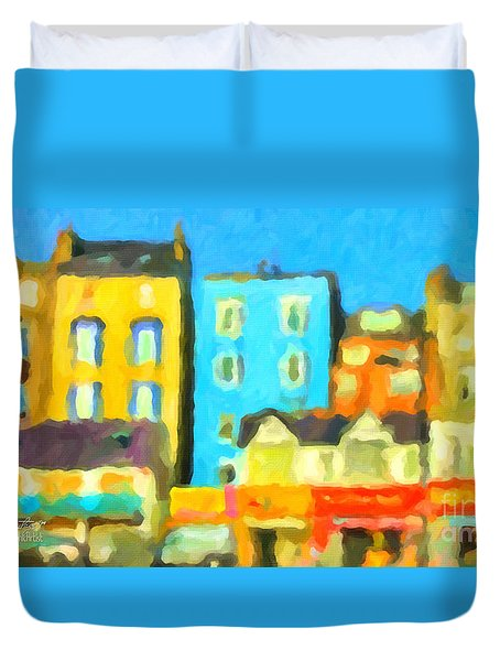 Duvet Cover featuring the painting Scarborough by Chris Armytage
