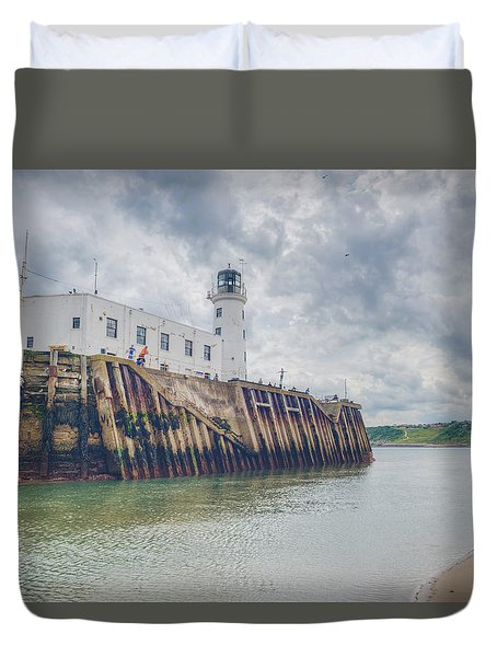 Scarborough Harbour Duvet Cover by Ray Devlin