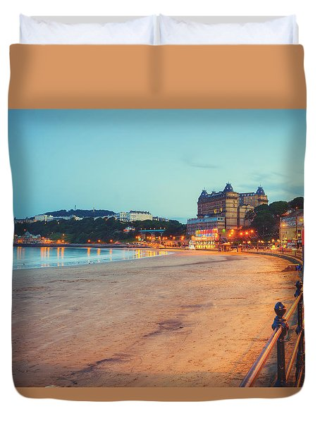 Duvet Cover featuring the photograph Scarborough Seaside by Ray Devlin