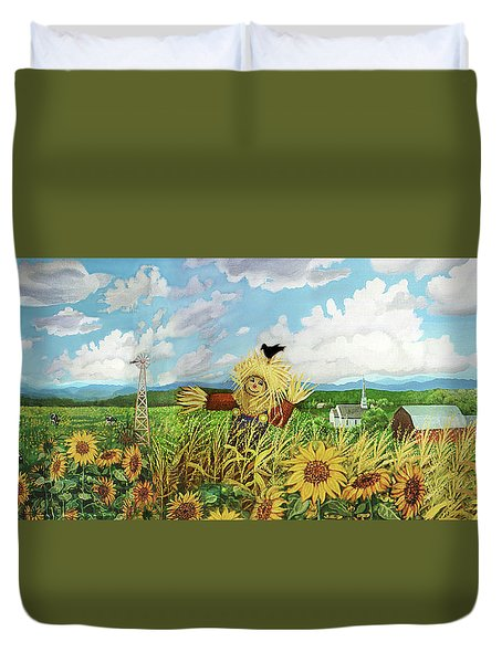 Scare Crow And Silo Farm Duvet Cover by Bonnie Siracusa