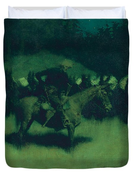 Scare In A Pack Train Duvet Cover by Frederic Remington