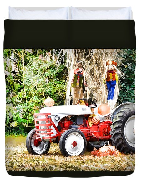 Scarecrow And Pumpkins 2 Duvet Cover by Lanjee Chee