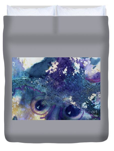 Duvet Cover featuring the painting Scarecrow Eyes by Kathy Braud