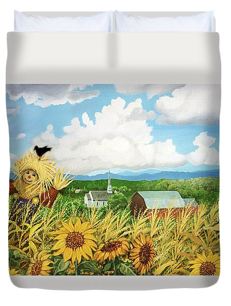 Scarecrow Farm Duvet Cover by Bonnie Siracusa