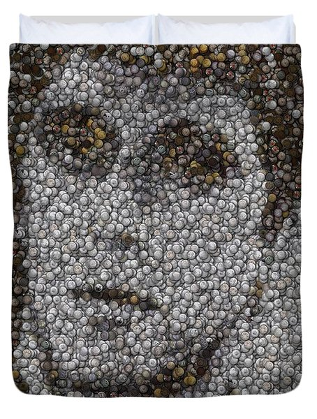 Duvet Cover featuring the mixed media Scarface Coins Mosaic by Paul Van Scott