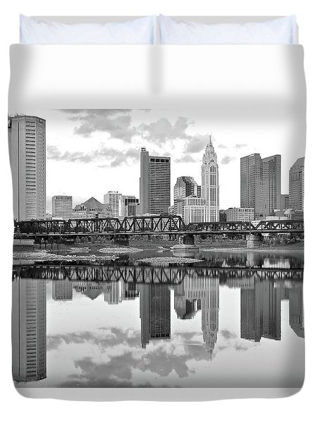 Duvet Cover featuring the photograph Scarlet And Columbus Gray by Frozen in Time Fine Art Photography
