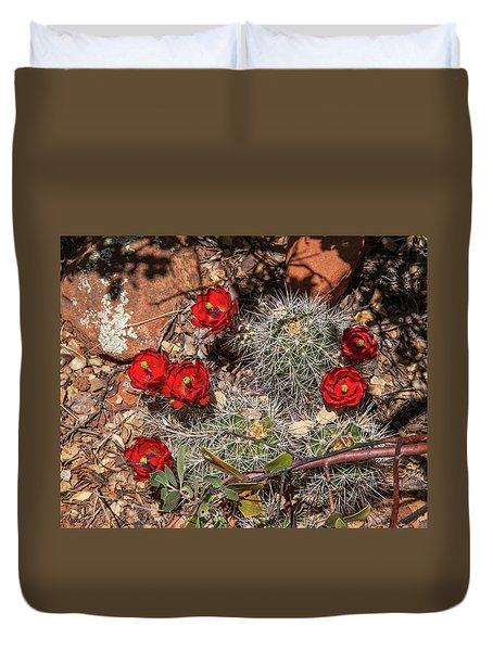 Scarlet Cactus Blooms Duvet Cover