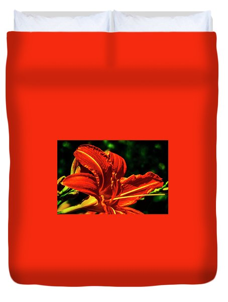 Duvet Cover featuring the photograph Scarlet Flower  by Joseph Hollingsworth