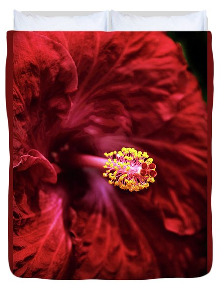 Scarlet Hibiscus Duvet Cover by Jessica Jenney
