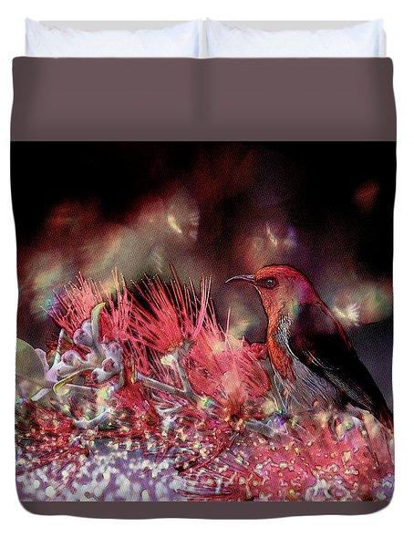 Scarlet Honeyeater Duvet Cover by Ericamaxine Price