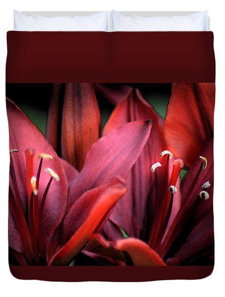 Duvet Cover featuring the photograph Scarlet Lilies by Kathleen Stephens