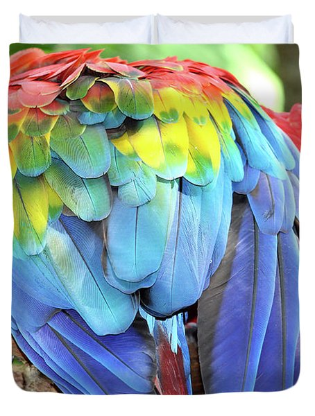 Duvet Cover featuring the photograph Scarlet Macaw Plumage by D Renee Wilson