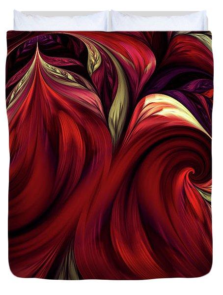 Duvet Cover featuring the digital art Scarlet Red by Deborah Benoit