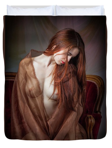 Duvet Cover featuring the photograph Scarlet Repose by Rikk Flohr