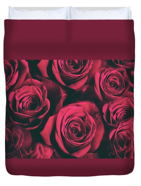 Duvet Cover featuring the photograph Scarlet Roses by Jessica Jenney