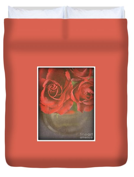 Duvet Cover featuring the photograph Scarlet Roses by Lyn Randle