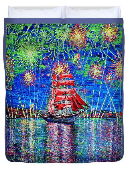 Duvet Cover featuring the painting Scarlet Sail by Viktor Lazarev