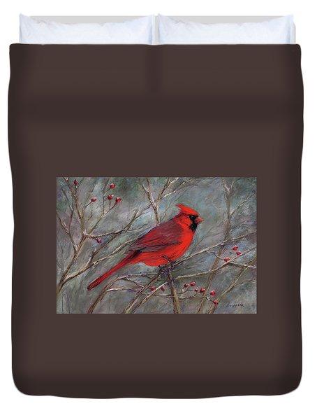 Scarlet Sentinel Duvet Cover