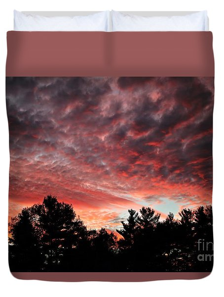 Duvet Cover featuring the photograph Scarlet Sunset Silhouette by Kenny Glotfelty