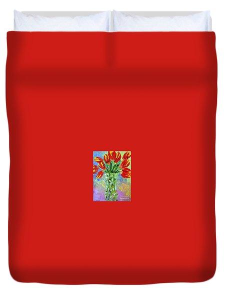 Scarlet Tulips Duvet Cover