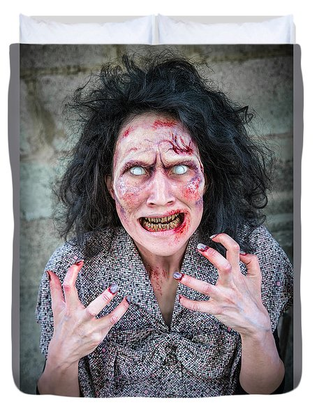 Scary Angry Zombie Woman Duvet Cover