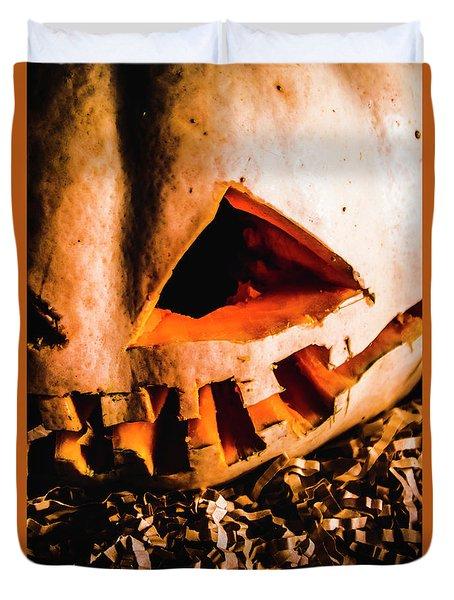 Scary Jack O Lantern. Halloween Faces Duvet Cover