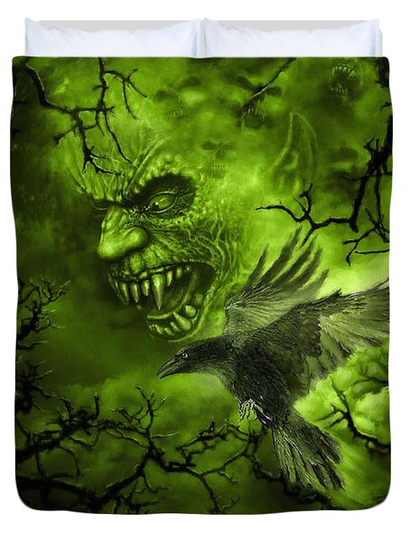 Scary Moon Duvet Cover