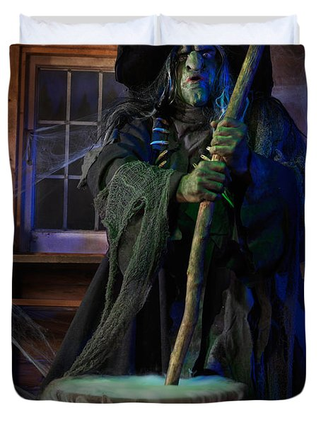 Scary Old Witch With A Cauldron Duvet Cover by Oleksiy Maksymenko