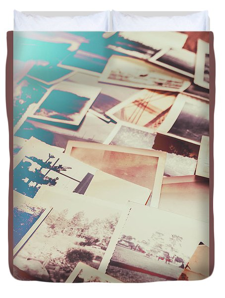 Scattered Collage Of Old Film Photography Duvet Cover
