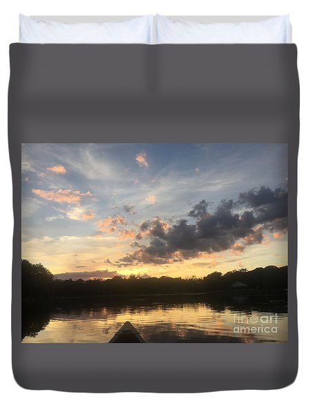 Scattered Sunset Clouds Duvet Cover by Jason Nicholas