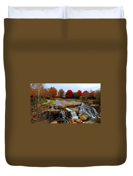 Scene From The Falls Park Bridge In Greenville, Sc Duvet Cover