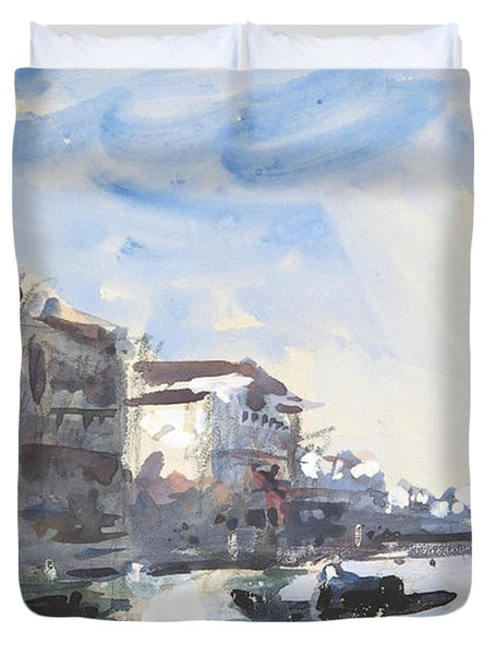 Scene On The Grand Canal, Venice Duvet Cover