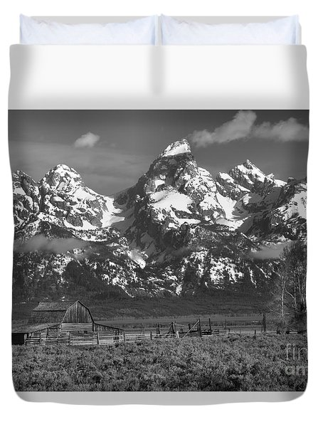 Scenic Mormon Homestead Black And White Duvet Cover by Adam Jewell