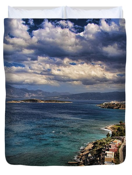 Scenic View Of Eastern Crete Duvet Cover