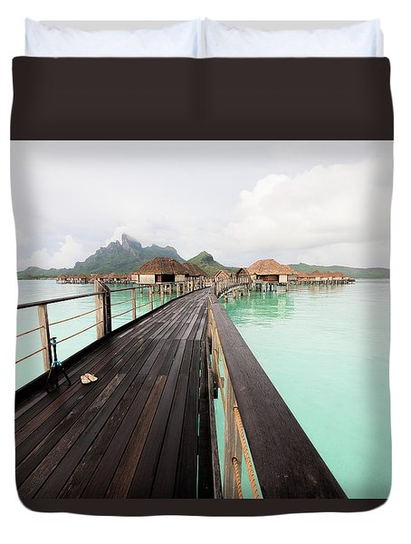 Scenic Walk To The Bungalow Duvet Cover