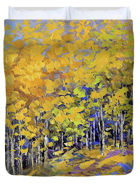 Duvet Cover featuring the painting Scented Woods by Tatiana Iliina