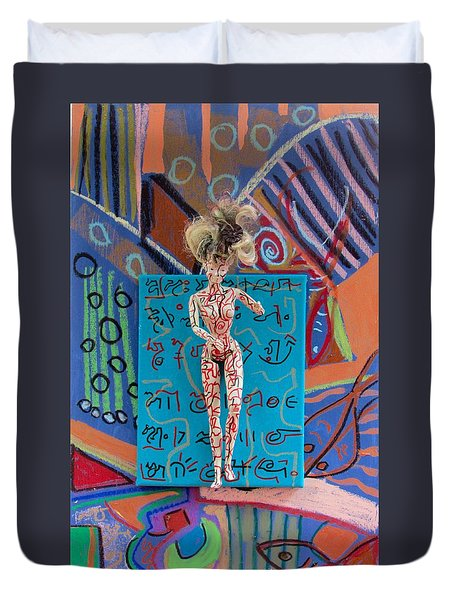 Duvet Cover featuring the painting Schisandra Berry Herbal Tincture by Clarity Artists