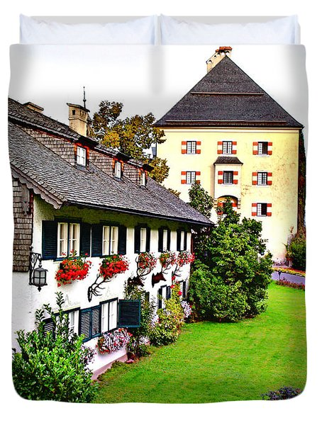 Duvet Cover featuring the photograph Schloss Fuschl by Kathy Kelly