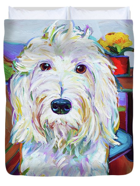 Duvet Cover featuring the painting Schnoodle by Robert Phelps