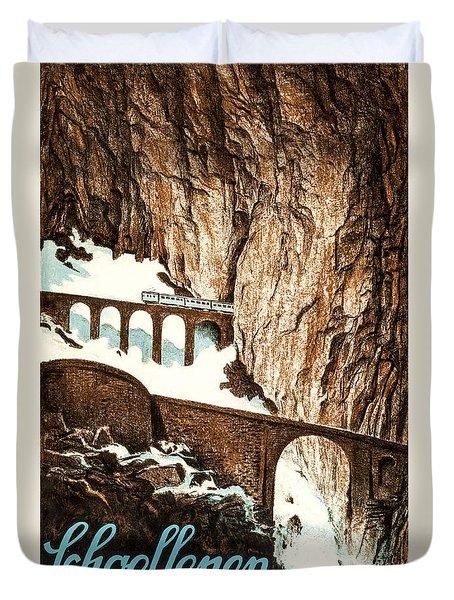 Schoellenen Switzerland Travel Poster 1919 Duvet Cover
