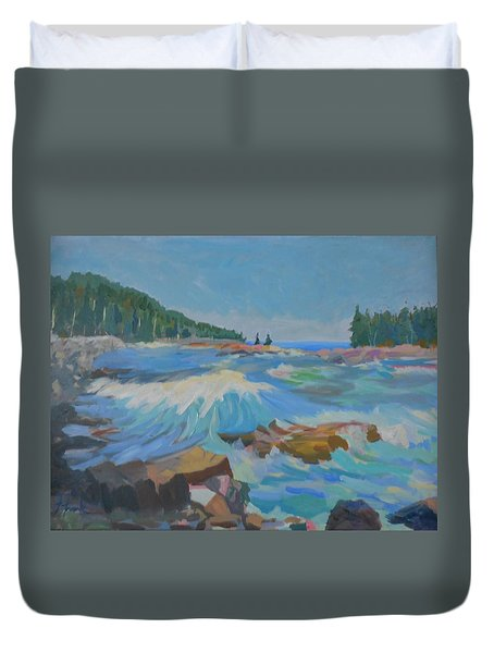 Duvet Cover featuring the painting Schoodic Inlet by Francine Frank