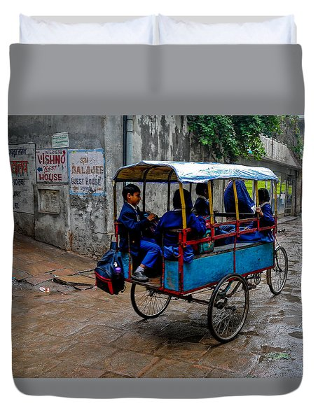 School Cart Duvet Cover