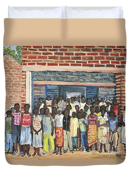 School Class Burkina Faso Series Duvet Cover by Reb Frost